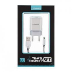 USAMS Dual 2.4A USB Cestovní Dobíječ + U-Turn Lightning Kabel White/Grey (EU Blister)