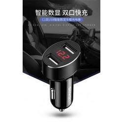 USAMS CC045 Dual USB 2.1A Digital Display Autodobíječ Black (EU Blister)