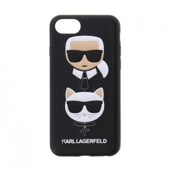 KLHCI8KICKC Karl Lagerfeld Karl and Choupette Hard Case Black pro iPhone 8