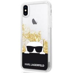 KLHCPXCHPEEGO Karl Lagerfeld Choupette Sunglass TPU Pouzdro Gold pro iPhone X