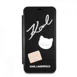 KLFLBKI8PPIN Karl Lagerfeld Pins Book Pouzdro Black pro iPhone X