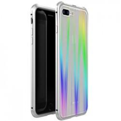 Luphie Aurora Magnet Hard Case Glass +Tvrzené Sklo Silver/White pro iPhone 7/8 Plus