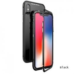 Luphie Magneto Hard Case Glass +Tvrzené Sklo Black pro iPhone X