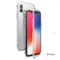Luphie Magneto Hard Case Glass +Tvrzené Sklo Silver pro iPhone X