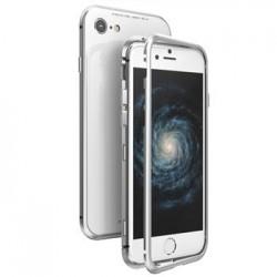 Luphie Magneto Hard Case Glass +Tvrzené Sklo Silver pro iPhone 7/8