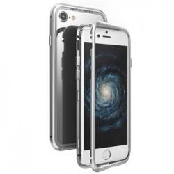 Luphie Magneto Hard Case Glass +Tvrzené Sklo Silver/Crystal pro iPhone 7/8