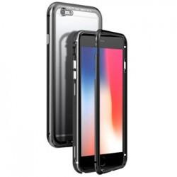 Luphie Magneto Hard Case Glass +Tvrzené Sklo Black/Crystal pro iPhone 6/6S