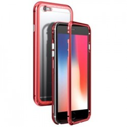 Luphie Magneto Hard Case Glass +Tvrzené Sklo Red/Crystal pro iPhone 6/6S
