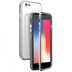 Luphie Magneto Hard Case Glass +Tvrzené Sklo Silver pro iPhone 6/6S
