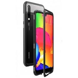 Luphie Magneto Hard Case Glass +Tvrzené Sklo Black/Crystal pro Huawei P20