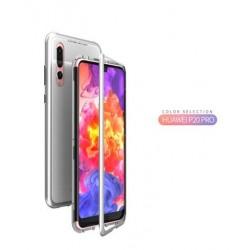 Luphie Magneto Hard Case Glass +Tvrzené Sklo Silver pro Huawei P20 Pro
