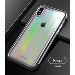 Luphie Aurora Condom Aluminium Frame + TPU Case Silver/Crystal pro iPhone XS Max