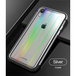 Luphie Aurora Condom Aluminium Frame + TPU Case Silver/Crystal pro iPhone XR
