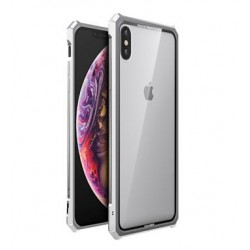 Luphie King of Snaps Magnetic Aluminium Bumper Case Glass Silver pro iPhone X/XS