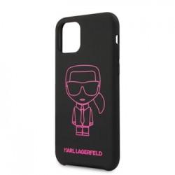 KLHCN58SILFLPBK Karl Lagerfeld Silikonový Kryt pro iPhone 11 Pink Out Black (EU Blister)