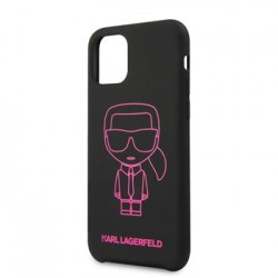 KLHCN65SILFLPBK Karl Lagerfeld Silikonový Kryt pro iPhone 11 Pro Pink Out Black (EU Blister)