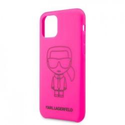 KLHCN61SILFLPI Karl Lagerfeld Silikonový Kryt pro iPhone 11R Black Out Pink (EU Blister)